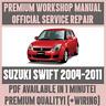 WORKSHOP MANUAL SERVICE & REPAIR GUIDE for SUZUKI SWIFT 2004-2011 +WIRING