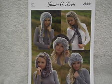 James C Brett - Faux Fur Knitting Pattern for Hats, Neck Wrap and Snood - JB251
