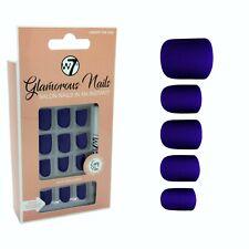 W7 Glamorous Nails Stick On Nails - Under The Sea - False Fake Blue Navy Square