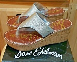 Sam Edelman Rose Silver Metallic Leather Cork Wedge Sandal Shoe, 10M