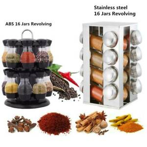 Rotating Spice Rack Kitchen Seasoning Container Stainless Steel Stand w/16 Jar