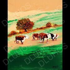 Cows Bovine Cattle Bulls Landscape ORIGINAL MODERN Painting Petr Dluhos SALE