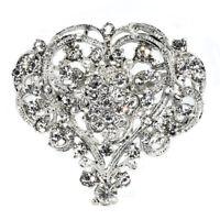 Shine Heart Shape Lady Girl Rhinestone Brooch Huge Size Wedding Party Brooch Pin
