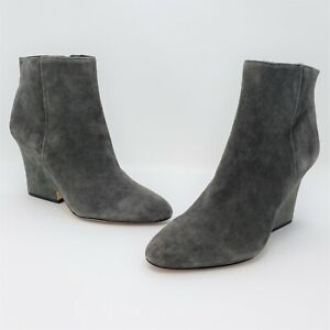 Sam Edelman Wilson Womens Grey Suede Wedge Ankle Boots Size US 9M EUR 39