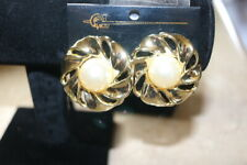 New Earrings White Stone and Gold on Card CLIP ON Vintage