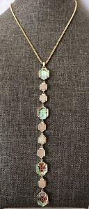 "HTF KENDRA SCOTT Quartz Druzy Dichroic Stones Adjustable Chain Necklace 28"" EUC"