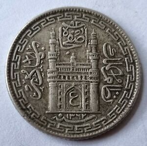 India Princely State of Hyderabad AH1362 4 Annas Silver Coin