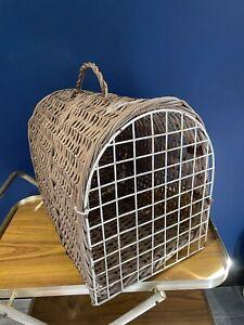 Vintage Retro Natural Wicker Pet Basket Carrier