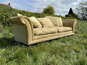 Duresta 4 Seater Scroll arm Lounge Sofa Gold Traditional