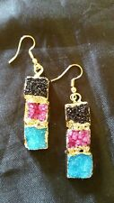 titanium crystal agate geode druzy natural stone earrings FREE SHIPPING