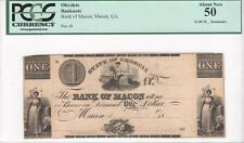 $1 Obsolete, Early 1830's, Ga195-G4, Bank of Macon, Georgia, Pcgs About New 50