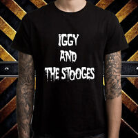 Iggy And The Stooges Rock Band Logo Men's Black T-Shirt Size S to 3XL