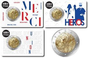 """FRANKREICH - 3 x 2 EUROS Gedenkmünzen 2020 COIN CARD """"Medizinische - Forschun"""""""