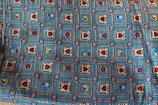 Vintage Folk Fabric Blue Red Heart House Floral Retro 34x78