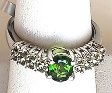 Green Chrome Diopside & Ablygonite Platinum Plated Women's Silver Ring. Size 8