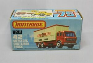 """Matchbox Lesney Superfast No42 MERCEDES CONT TRUCK Empty K TYPE BOX with NEW """""""