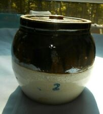 OLD #2 Crock Bean Pot With Button Knob Lid