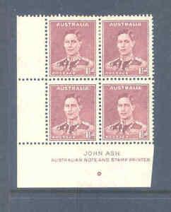 AUSTRALIA PREDECIMAL 1938 KGVI DEFS PERF 13.5 ASH IMPRINT BLOCK VERY FINE....