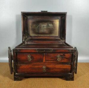 12'' Chinese Antique Wood Box natural old Mahogany Box Storage Box