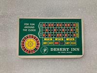 Desert Inn Roulette Wheel Pay Card Vintage Las Vegas Rare