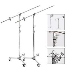 Heavy Duty C-Stand x2 3m Steel Century Boom Arm Photo Studio Light Stand Grip UK