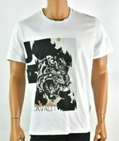 Just Cavalli Mens White T-Shirt XL New Tiger Graphic Tee Short Sleeves Crew Neck