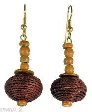 Brown Tones Wood & String Drop Earring CJE834