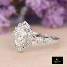 3.5 ct  Diamond Vintage Engagement Ring Sterling Silver