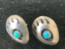 Vintage Sterling Bear Paw Earrings Turquoise Navajo Style Southwestern