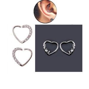 Sparkle Love Heart Daith Piercing Crystal Helix Earring Silver Cartilage Hoop