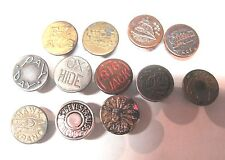 12 Vintage Overall Work Clothing Buttons Big Jack Hawk Brand Red Ball Ox Hide ++
