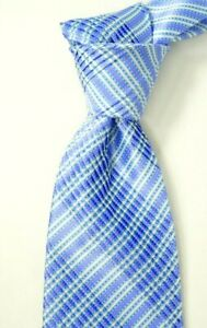 $450 Stefano Ricci Pleated Satin Purple Blue & White Striped Silk Neck Tie NWT