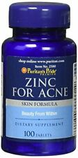 Zinc for Acne Puritan's Pride Mineral Immune Sytem Health 100 Tablets Vitamins