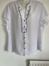 Lovely White With Navy Trim Blouse By Bm, Size 18. Worn Once Briefly