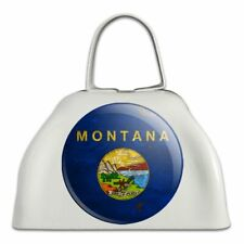 Rustic Montana State Flag Distressed Usa White Metal Cowbell Cow Bell Instrument