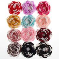 15PCS 8.5CM Fashion Burn Fabric Flower With Pearl For Headbands Chiffon Flowers