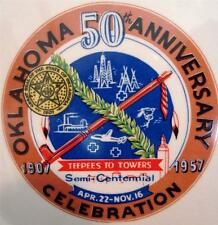 Oklahoma 50th Anniversary 1957 Plate Teepees To Towers Sabina Line Kitsch