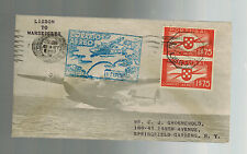 1939 Lisbon Portugal to Marseilles France First FLight Cover FFC Sage Cachet
