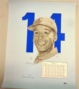 Ernie Banks signed Chicago Cubs autographed 19x24 Print auto BAS COA