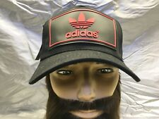 adidas Originals Trefoil Strapback Baseball Cap Hat Lid Brim Dad Black w/Red