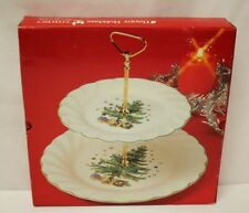 Happy Holidays NIKKO Two-Tier Christmas Serving Tray (2-Tier) NEW IN BOX