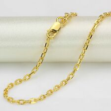 16.9INCH Fine Pure 18K Yellow Gold Chain 2mmW Cable Oval Circle Link Necklace