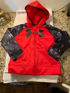 Under Armour Child YOUTH Hoodie Size 5 Zip Front Camouflage Sleeves LTD Edition