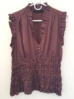 ZARA Womens XS S Purple Ruffle V Neck Sleeveless Elastic Waist Summer Blouse Top