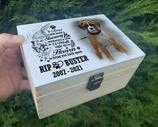Personalised urn casket for pet dog ashes, Memory keepsake box, Wooden urn.
