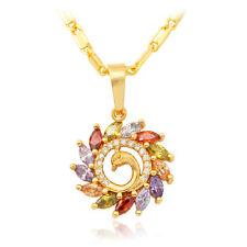 U7 Phoenix Bird Pendant Necklace 18K Gold Plated Zirconia Fashion Women Jewelry