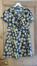 La Redoute creation navy yellow lilac shirt dress collared frilled front size 12