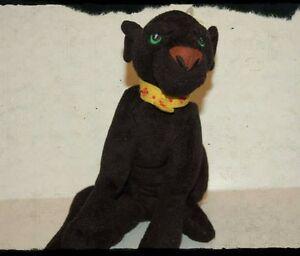 "Rama The Black Panther Cat Yellow Collar Plush 7"" 1998 Warner Brothers King & I"