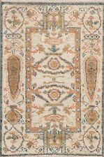 Geometric Muted Antique Look Oushak Turkish Area Rug Hand-made Wool Carpet 2'x3'