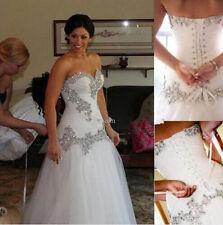 Plus  Size Lace-up White/Ivory Wedding Dress  A-Line Beading Bridal Gown Custom